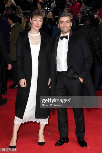 Actor Oscar Isaac and director Elvira Lind attend the European Premiere of 'Star Wars The Last Jedi' at Royal Albert Hall on December 12 2017 in...