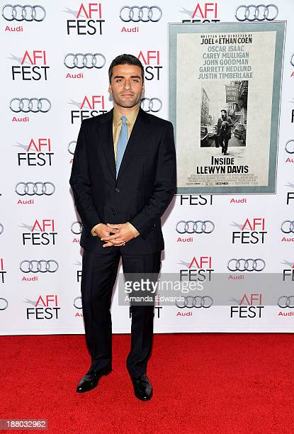 Actor Oscar Isaac arrives at the AFI FEST 2013 Presented By Audi 'Inside llewyn Davis' closing night gala premiere at the TCL Chinese Theatre on...