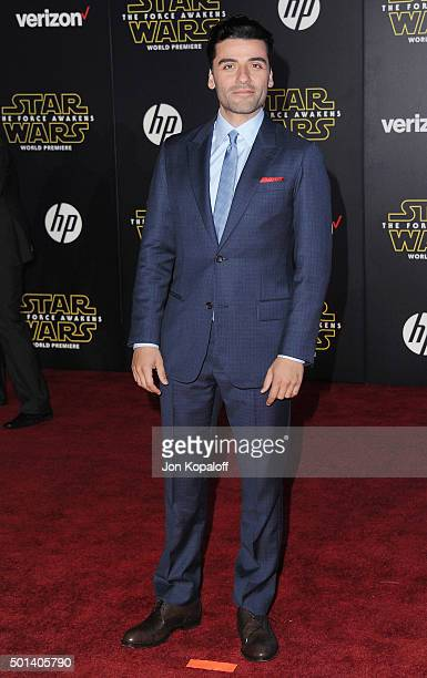 Actor Oscar Isaac arrives at the Los Angeles Premiere 'Star Wars The Force Awakens' on December 14 2015 in Hollywood California