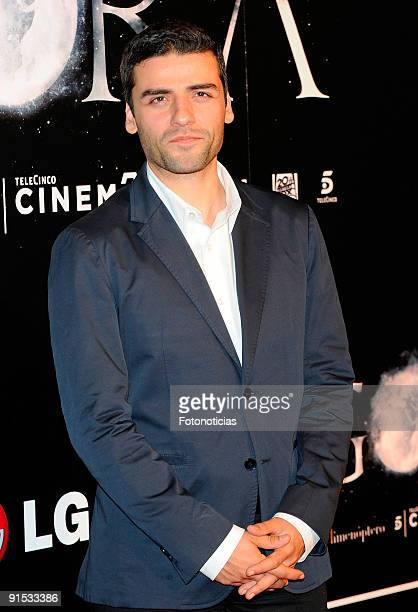 Actor Oscar Isaac attends the Agora premiere at Kinepolis Cinema on October 6 2009 in Madrid Spain