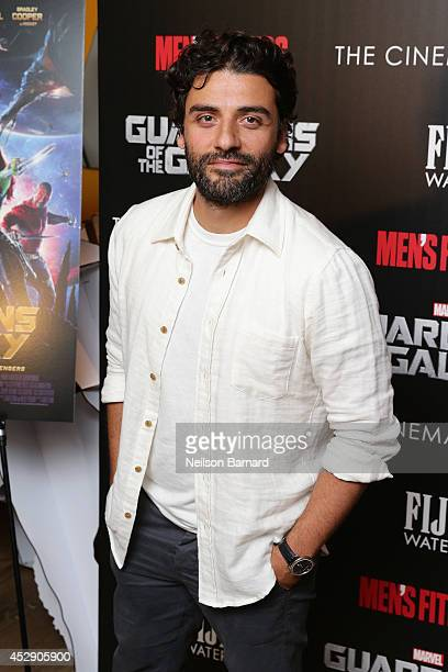 Actor Oscar Isaac attends The Cinema Society with Men's Fitness and FIJI Water special screening of Marvel's Guardians of the Galaxy at Crosby Street...