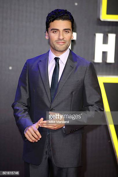 Actor Oscar Isaac attends the European Premiere of 'Star Wars The Force Awakens' at Leicester Square on December 16 2015 in London England