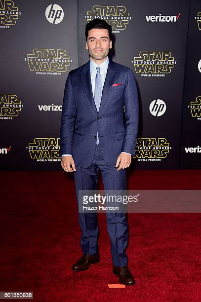 Actor Oscar Isaac attends the premiere of Walt Disney Pictures and Lucasfilm's 'Star Wars The Force Awakens' on December 14th 2015 in Hollywood...
