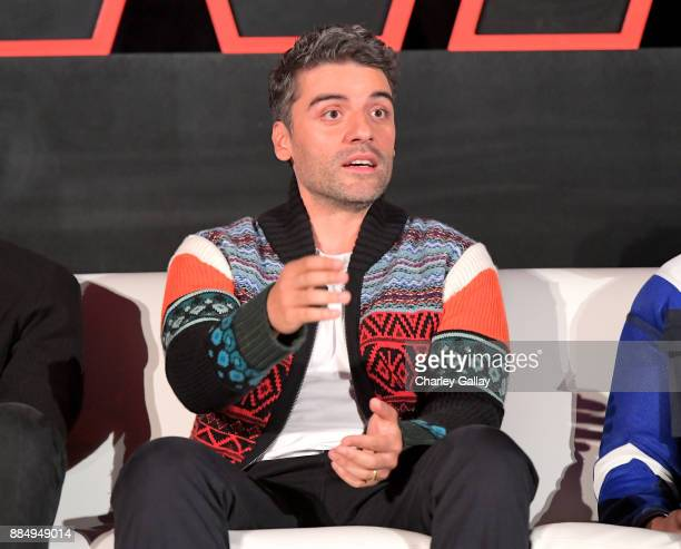 Actor Oscar Isaac attends the press conference for the highly anticipated Star Wars The Last Jedi at InterContinental Los Angeles on December 3 2017...