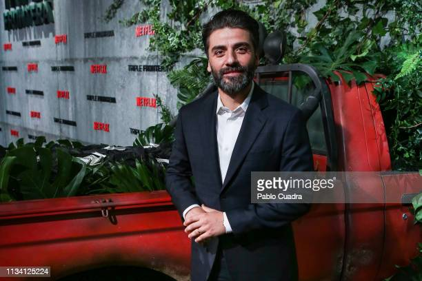 Actor Oscar Isaac attends the Triple Frontier premiere at Callao Cinema on March 06 2019 in Madrid Spain