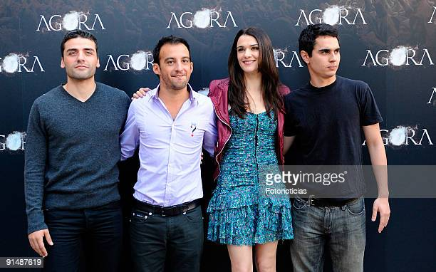 Actor Oscar Isaac director Alejandro Amenabar actress Rachel and actor Max Minghella attend the Agora photocall at the Biblioteca Nacional on October...