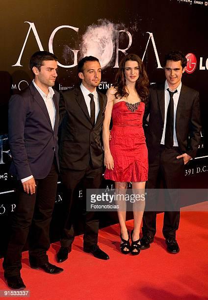 "Actor Oscar Isaac, director Alejandro Amenabar, actress Rachel Weisz and actor Max Minghella attend the ""Agora"" premiere at Kinepolis Cinema on..."