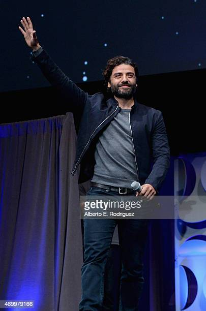 Actor Oscar Isaac speaks onstage during Star Wars Celebration 2015 on April 16 2015 in Anaheim California