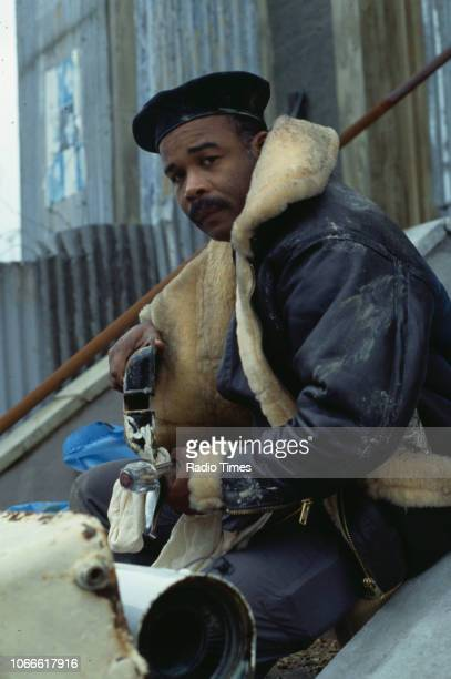 Actor Oscar James pictured on the exterior set of the BBC soap opera 'EastEnders' November 21st 1984