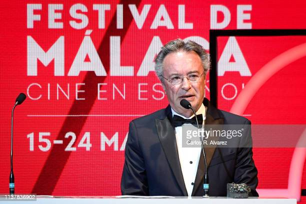 Actor Oscar Martinez holds the best actror in a leading role award for the film 'Yo mi mujer y mi mujer muerta' during the Malaga Film Festival 2019...