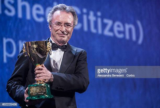 Actor Oscar Martinez holds the Volpi Cup award for Best Actor in the film 'The Distinguished Citizen' during the awards ceremony of the 73rd Venice...