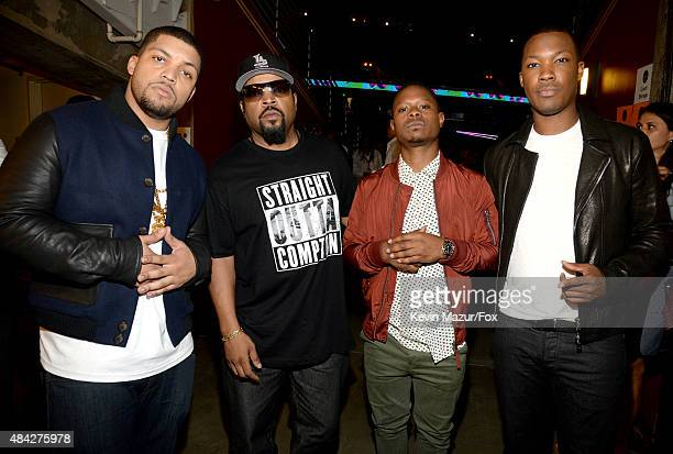 Actor O'Shea Jackson Jr actor/recording artist Ice Cube actors Jason Mitchell and Corey Hawkins attend the Teen Choice Awards 2015 at the USC Galen...