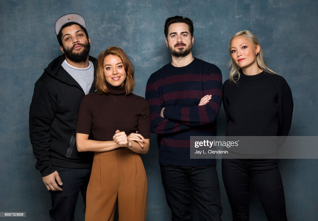 Actor O'Shea Jackson Jr., actress Aubrey Plaza, director Matt Spicer, and actress Pom Klementieff, from the film 'Ingrid Goes West,' photographed at the 2017 Sundance Film Festival for Los Angeles Times on January 21, 2017 in Park City, Utah. PUBLISHED IMAGE.