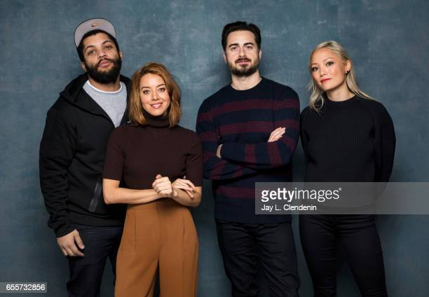 Actor O'Shea Jackson Jr actress Aubrey Plaza director Matt Spicer and actress Pom Klementieff from the film Ingrid Goes West photographed at the 2017...