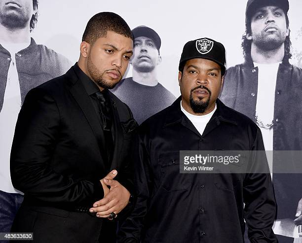 Actor O'Shea Jackson Jr and his father O'Shea Jackson aka Ice Cube arrive at the premiere of Universal Pictures and Legendary Pictures' Straight...