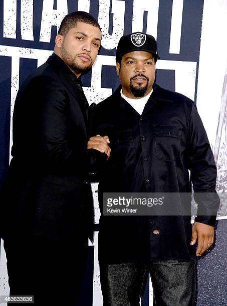 """Actor O'Shea Jackson, Jr. And his father O'Shea Jackson aka Ice Cube arrive at the premiere of Universal Pictures and Legendary Pictures' """"Straight..."""