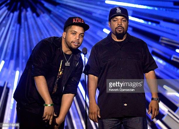 Actor O'Shea Jackson Jr and Ice Cube speak onstage during the 2015 MTV Video Music Awards at Microsoft Theater on August 30 2015 in Los Angeles...