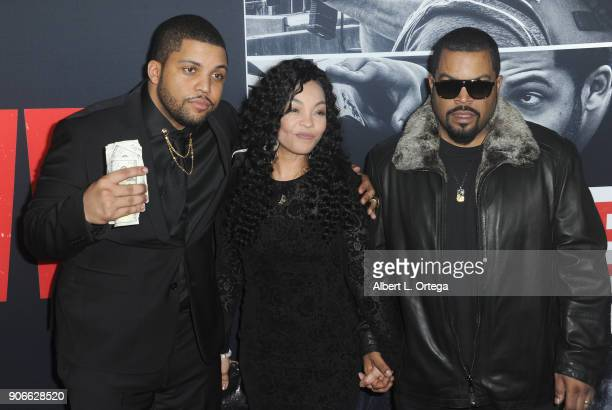 Actor O'Shea Jackson Jr Kimberly Woodruff and Ice Cube arrive for the Premiere Of STX Films' 'Den Of Thieves' held at Regal LA Live Stadium 14 on...