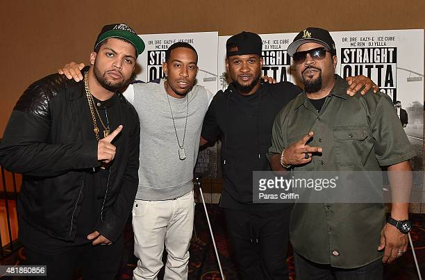 Actor O'Shea Jackson Jr rapper Ludacris recording artist Usher Raymond and rapper/actor Ice Cube attend Straight Outta Compton VIP Screening With...