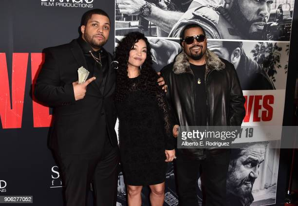 Actor O'Shea Jackson Jr with parents Kimberly Woodruff and O'Shea 'Ice Cube' Jackson attend the premiere of STX Films' 'Den of Thieves' at Regal LA...