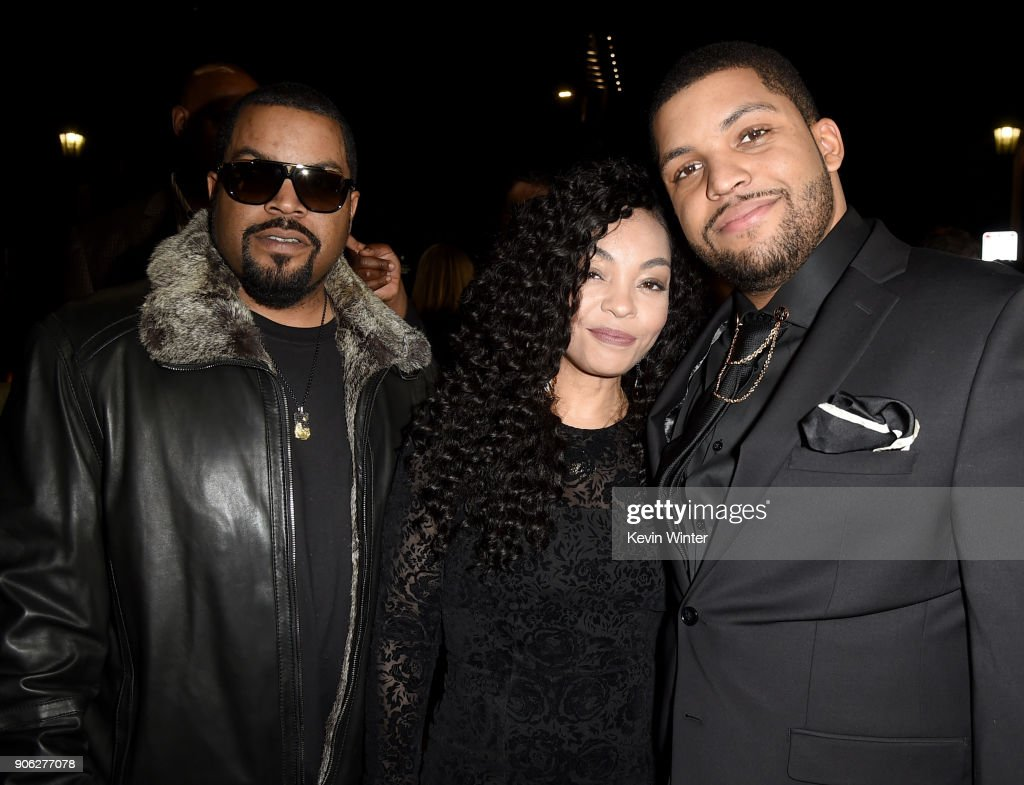 Actor O'Shea Jackson Jr. (R) with parents O'Shea 'Ice Cube' Jackson and Kimberly Woodruff attend the premiere of STX Films' 'Den of Thieves' at Regal LA Live Stadium 14 on January 17, 2018 in Los Angeles, California.