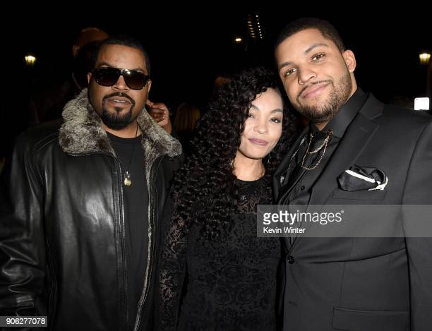 Actor O'Shea Jackson Jr with parents O'Shea 'Ice Cube' Jackson and Kimberly Woodruff attend the premiere of STX Films' Den of Thieves at Regal LA...