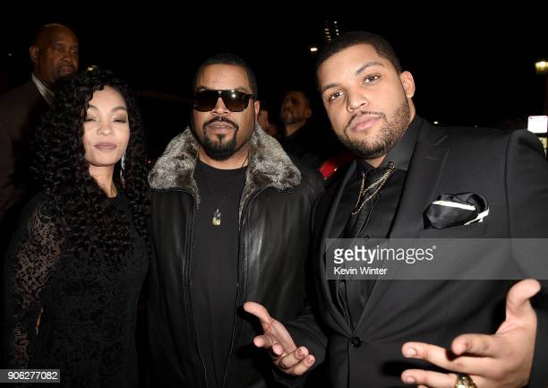 """Actor O'Shea Jackson Jr. With parents O'Shea 'Ice Cube' Jackson and Kimberly Woodruff attend the premiere of STX Films' """"Den of Thieves"""" at Regal LA..."""