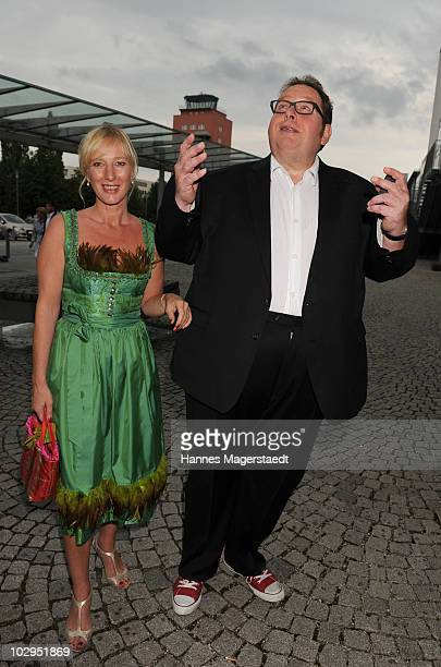 Actor Ottfried Fischer and girlfriend Simone Brandlmeier attend the Bavarian Sport Award 2010 at the International Congress Center Munich on July 17...