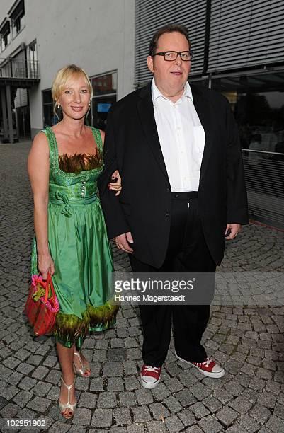 Actor Ottfried Fischer and girlfriend Simone Brandlmeier attend the Bavarian Sport Award 2010 at the International Congress Center Munich on July 17...