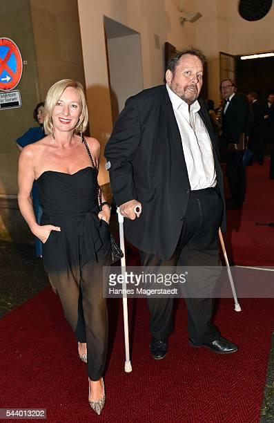 Actor Ottfried Fischer and his partner Simone Brandlmeier attend the Bernhard Wicki Award during the Munich Film Festival 2016 at Cuvilles Theatre on...
