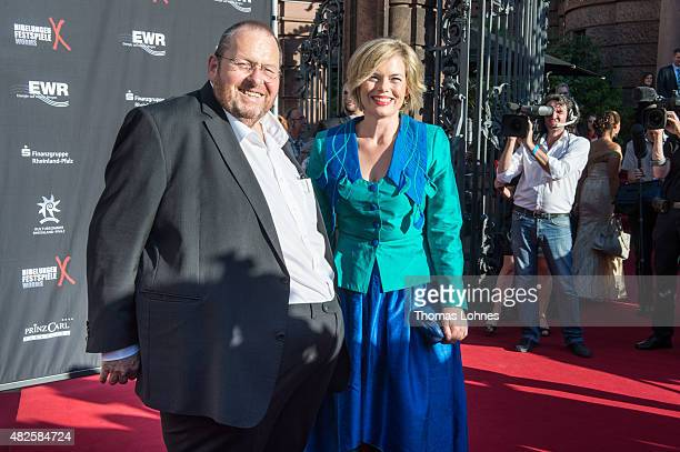 Actor Ottfried Fischer and Julia Kloeckner attend the opening night of the Nibelungen festival on July 31 2015 in Worms Germany