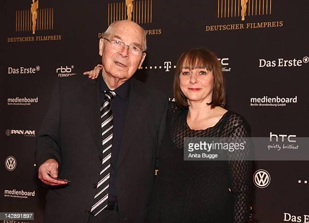 "Actor Otto Mellies and actress Steffie Kuehnert attend the nominees reception of the ""Deutscher Filmpreis"" award on April 14, 2012 in Berlin, Germany."