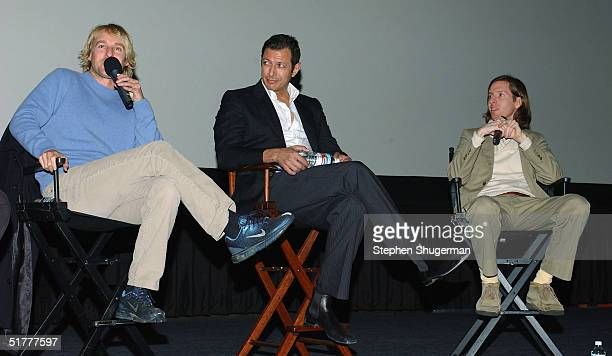 Actor Owen Wilson, actor Jeff Goldblum and director Wes Anderson answer questions from the audience during the Q & A following the Variety Screening...