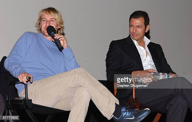 "Actor Owen Wilson and actor Jeff Goldblum answer questions from the audience during the Q & A following the Variety Screening Series - ""The Life..."