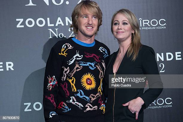 Actor Owen Wilson and actress Christine Taylor attend the 'Zoolander No2' premiere at the Capitol Cinema on February 1 2016 in Madrid Spain