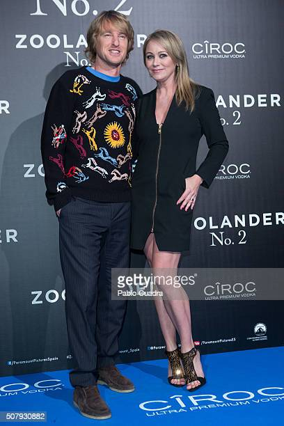 Actor Owen Wilson and actress Christine Taylor attend the 'Zoolander No.2' premiere at the Capitol Cinema on February 1, 2016 in Madrid, Spain.