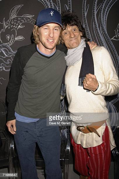 Actor Owen Wilson and musician Ronnie Wood attend the Rolling Stones after show party at Wood's home on August 20 in Kingston England
