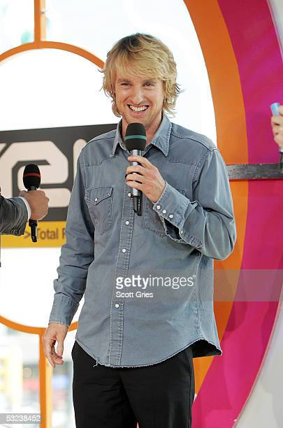 Actor Owen Wilson appears onstage during MTV's Total Request Live at the MTV Times Square Studios July 14 2005 in New York City