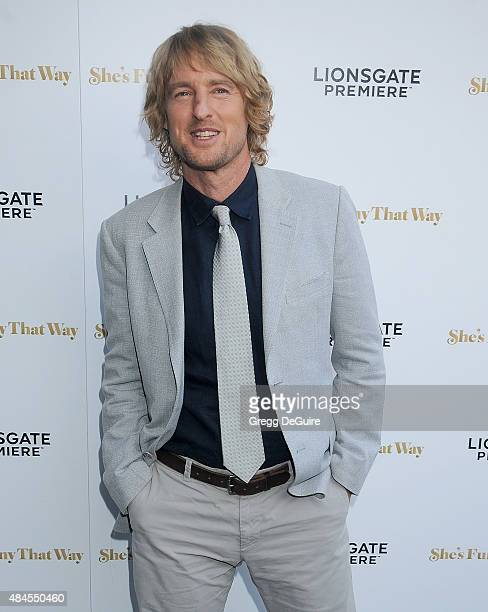 """Actor Owen Wilson arrives at the premiere of Lionsgate's """"She's Funny That Way"""" at Harmony Gold on August 19, 2015 in Los Angeles, California."""