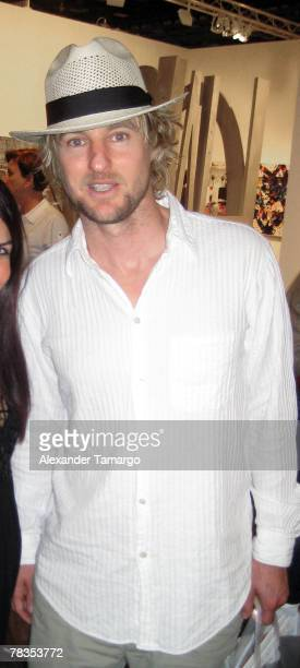 Actor Owen Wilson poses at the Miami Beach Convention Center during day five of Art Basel Miami Beach 2007 on December 9 2007 in Miami Beach Florida