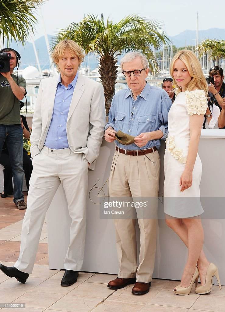 Actor Owen Wilson with director Woody Allen and actress Rachel McAdams attend the 'Midnight In Paris' photocall at the Palais des Festivals during the 64th Cannes Film Festival on May 11, 2011 in Cannes, France.