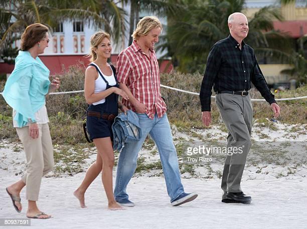 Actor Owen Wilson's mother Laura Wilson actress Jennifer Aniston actor Owen Wilson his father Robert Wilson are seen filming a scene from the movie...