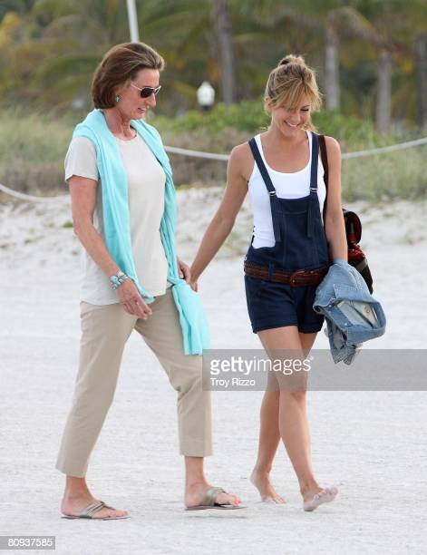 Actor Owen Wilson's mother Laura Wilson and actress Jennifer Aniston are seen filming a scene from the movie Marley Me at the beach behind the...