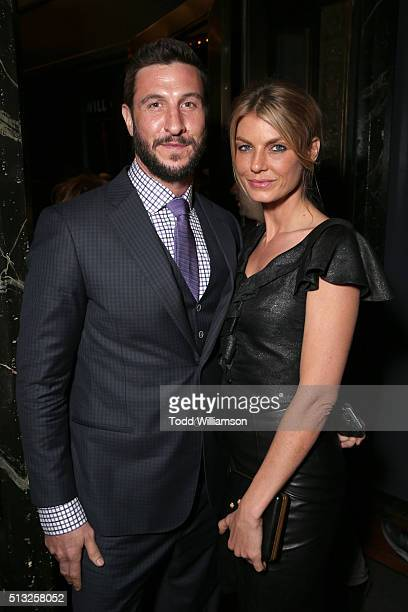 Actor Pablo Schreiber and model Angela Lindvall attend the premiere of Broad Green Pictures' Knight Of Cups on March 1 2016 in Los Angeles California