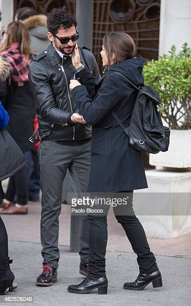 Actor Paco Leon and actress Alicia Borrachero attends the funeral service for actress Amparo Baro at 'La Almudena' cemetery on January 30 2015 in...