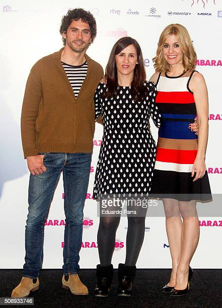 Actor Paco Leon director Juana Macias and actress Alexandra Jimenez attend 'Embarazados' photocall at Telefonica store on January 26 2016 in Madrid...