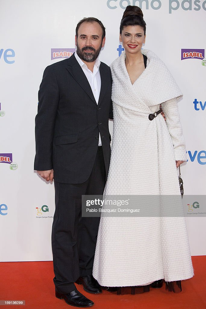 Actor Paco Marin and actress Pilar Punzano attend 'Cuentame Como Paso' 14th Season presentation at Capitol Cinema on January 8, 2013 in Madrid, Spain.