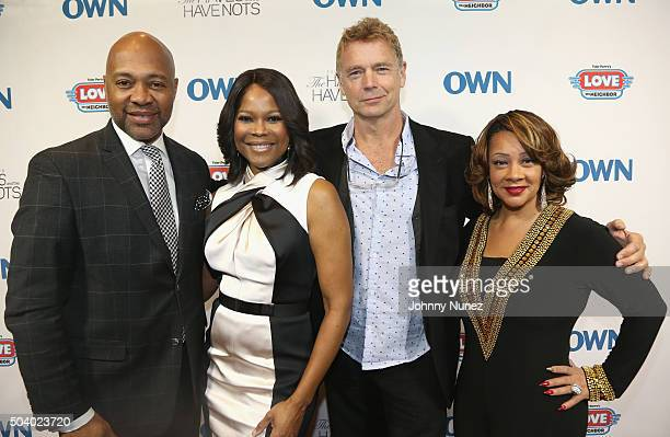 Actor Palmer Williams actress Angela Robinson actor John Schneider and actress Kendra C Johnson attend the OWN Press Lunch with Tyler Perry and the...