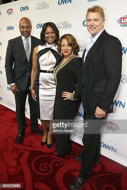 Actor Palmer Williams actress Angela Robinson actress Kendra C Johnson and actor John Schneider attend the OWN Press Lunch with Tyler Perry and the...