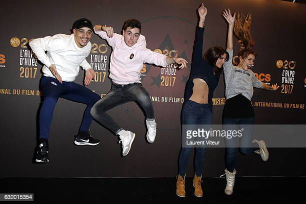 Actor Panayotis Pascot YouTuber Mister V Actress Charlotte Gabris and Youtuber Andy Raconte attend 'L'Ascension' Photocall during tne 20th L'Alpe...